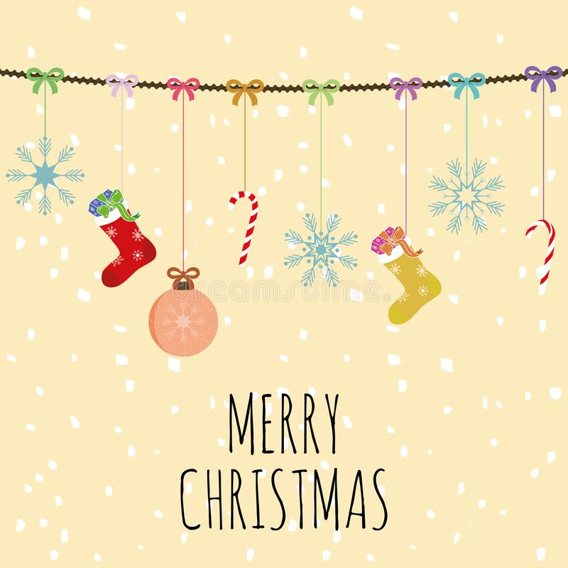 Merry christmas composition balls socks and bells yellow backgro vector illustration