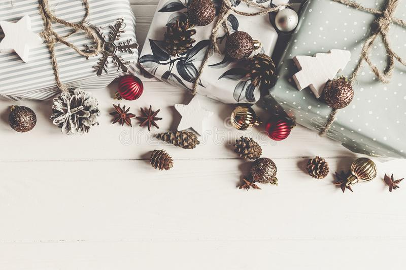 Merry christmas concept, flat lay. stylish presents and gifts wi royalty free stock photography