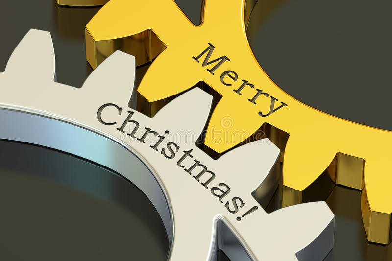 Merry Christmas concept on the gearwheels, 3D rendering. Merry Christmas concept on the gearwheels, 3D royalty free illustration