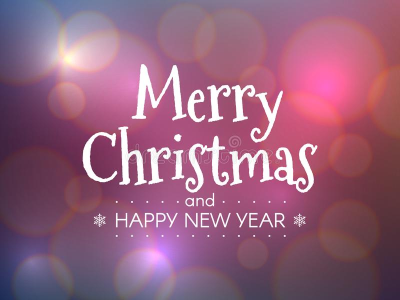 Merry Christmas concept. Happy New Year inscription with color bokeh background. Bright Xmas title with defocused royalty free illustration