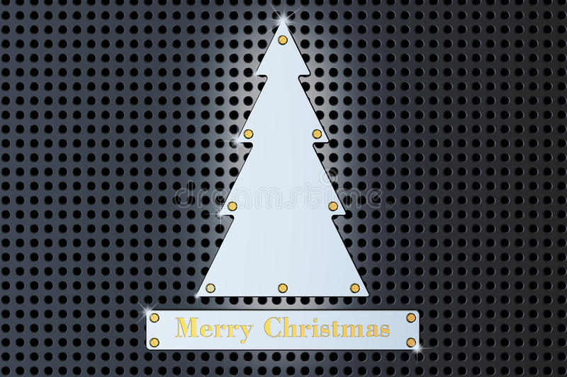 Merry Christmas concept with metallic Christmas Tree, 3D rendering. Merry Christmas concept with metallic Christmas Tree, 3D stock illustration