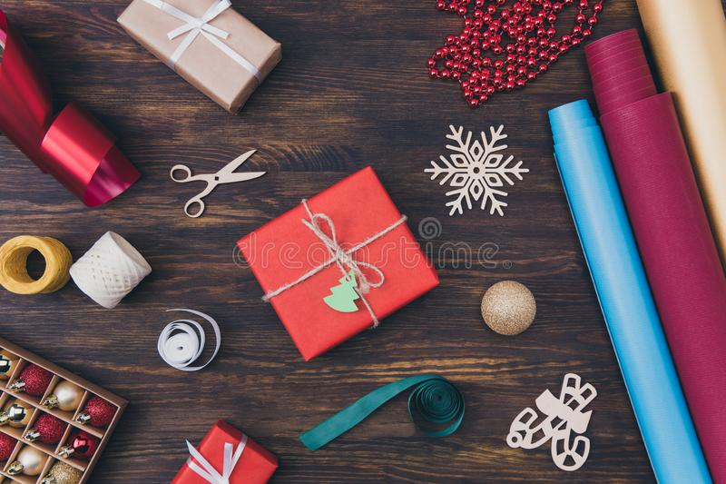 Merry Christmas concept. Top above high angle close up photo of beautiful full of eve noel newyear spirit atmosphere royalty free stock image