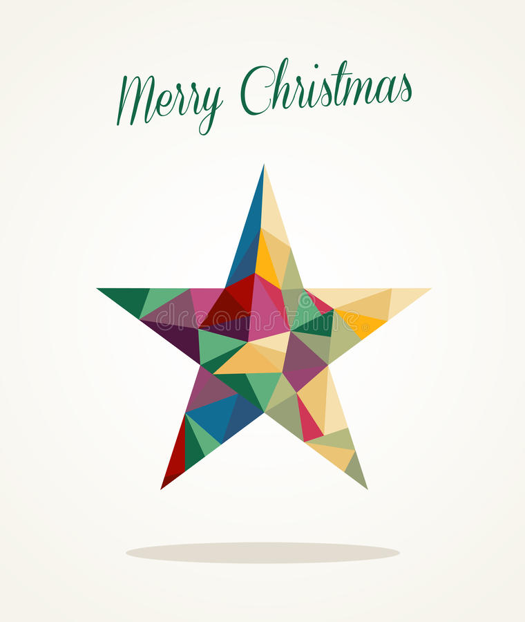 Merry Christmas contemporary triangle star greetin royalty free stock images