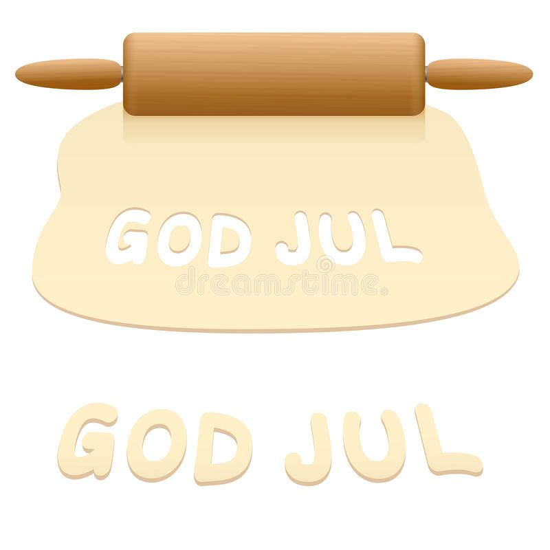 Merry Christmas God Jul Cookies Swedish. Merry Christmas cookies cut out from pastry dough saying GOD JUL in SWEDISH language royalty free illustration