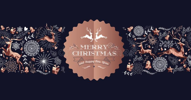 Merry Christmas copper luxury deer label card stock illustration