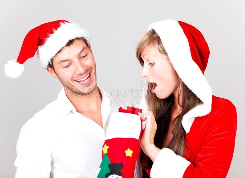 Merry christmas couple stock photo