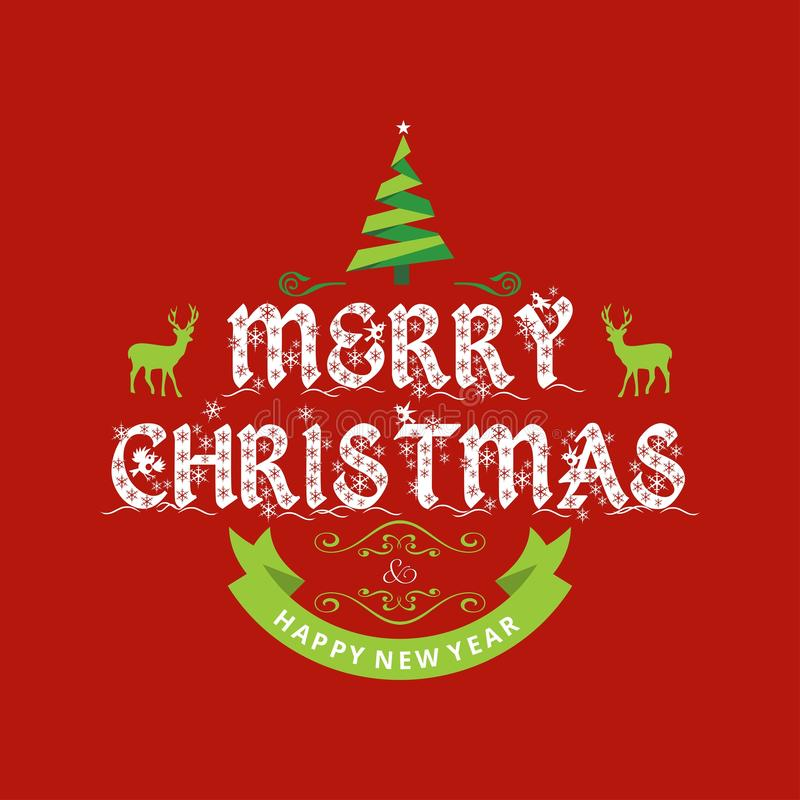 Merry Christmas creative design with red background vector stock illustration