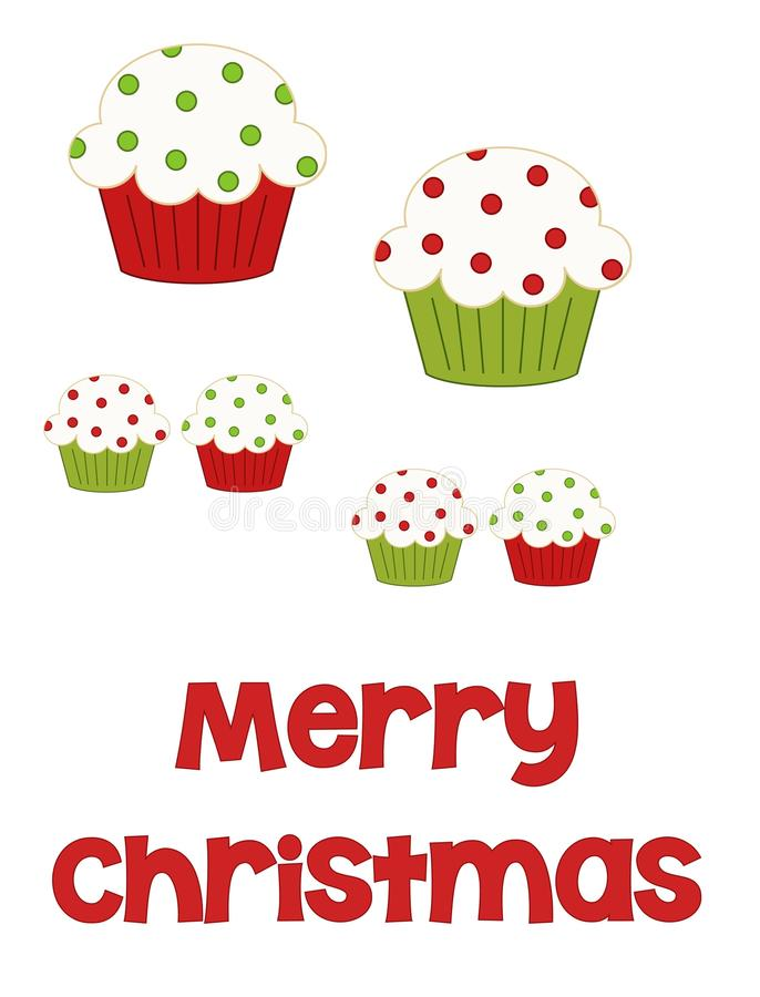 Merry Christmas Cupcakes. Red and green polka dot illustrated cupcakes in various sizes with the words Merry Christmas along the bottom to be used in crafting vector illustration