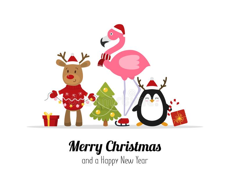 Merry Christmas. Cute Christmas animals. Reindeer, flamingo and penguin. Isolated Vector stock illustration