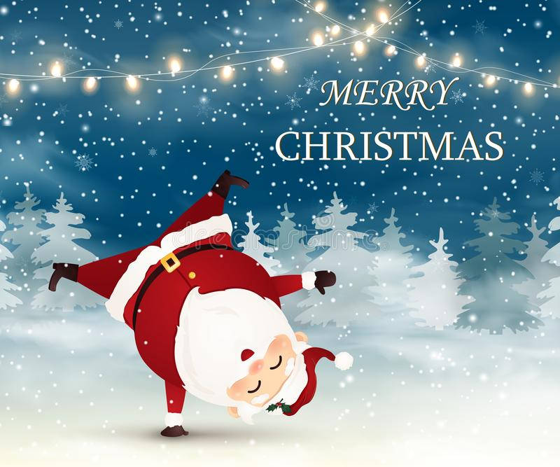 Merry Christmas. Cute, Cheerful Santa Claus standing on his arm in Christmas snow scene. stock image
