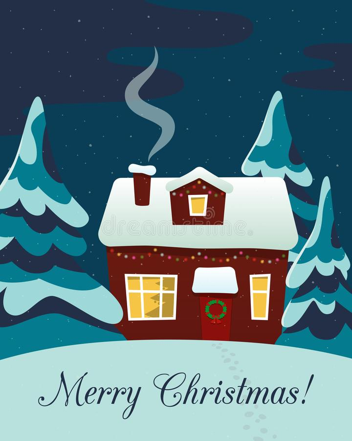 Merry Christmas! Cute postcard. Country house and winter forest in the evening. Vector stock illustration