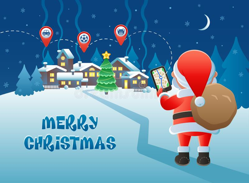 Merry Christmas. Cute Santa Claus with GPS navigation and map pointer icons on a winter village background. vector illustration