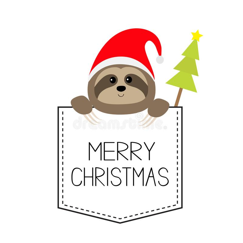 Merry Christmas. Cute sloth face head in the pocket. Santa hat. Fir tree. Cartoon animal. Lazy character. Dash line. White and. Black color. T-shirt design. New vector illustration