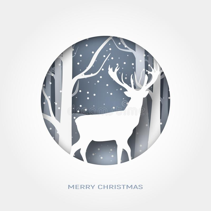 Merry Christmas 3d abstract paper cut illustration of snow and deer in the forest. Vector template royalty free illustration