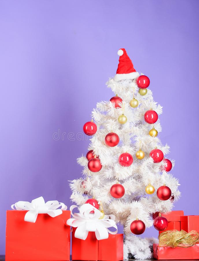 Merry christmas. decorated christmas tree. happy new 2020 year. xmas composition. present from santa under tree. winter royalty free stock photos