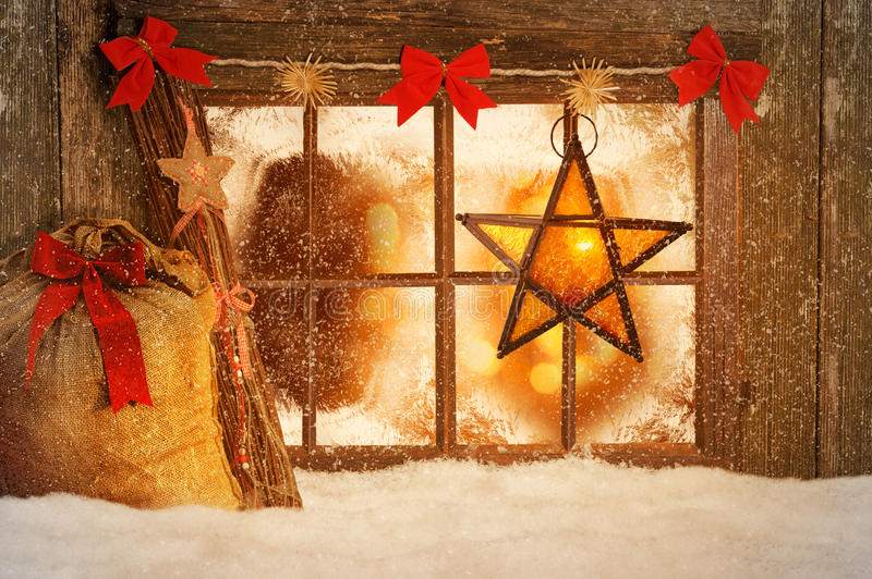 Merry Christmas. Christmas decorated windows with snow stock photography
