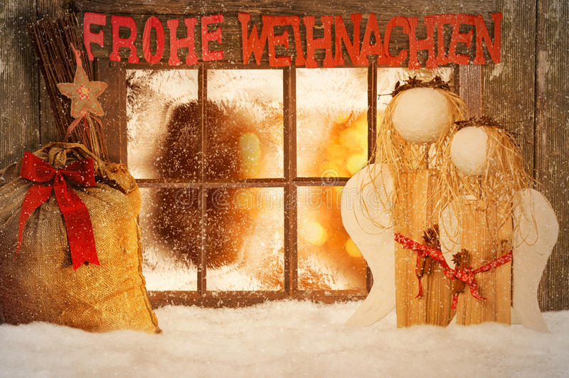 Merry Christmas. Christmas decorated windows with snow royalty free stock photos
