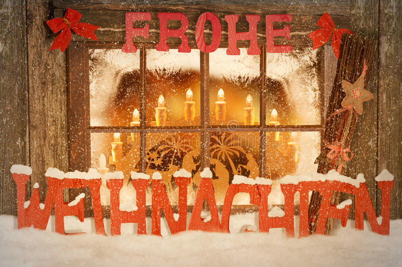 Merry Christmas. Christmas decorated windows with snow royalty free stock image