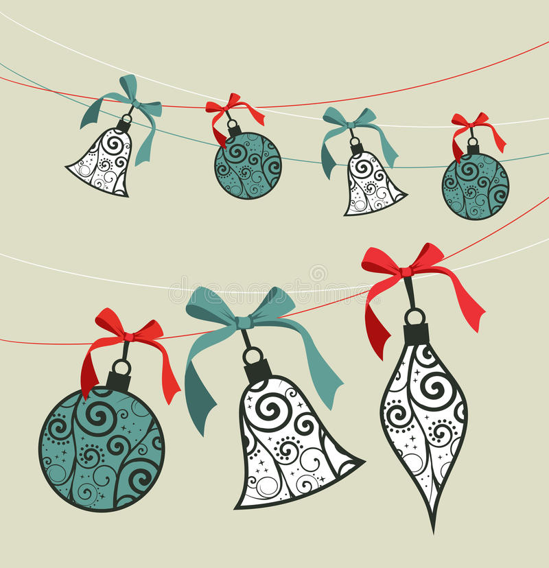 Merry Christmas decoration ribbon baubles. royalty free stock photography