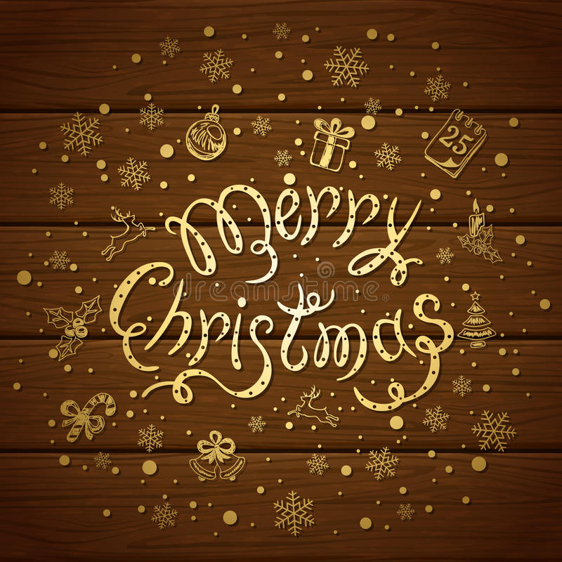 Merry Christmas with decorations on brown wooden background. Holiday lettering Merry Christmas with snowflakes and decorative elements on a brown wooden vector illustration