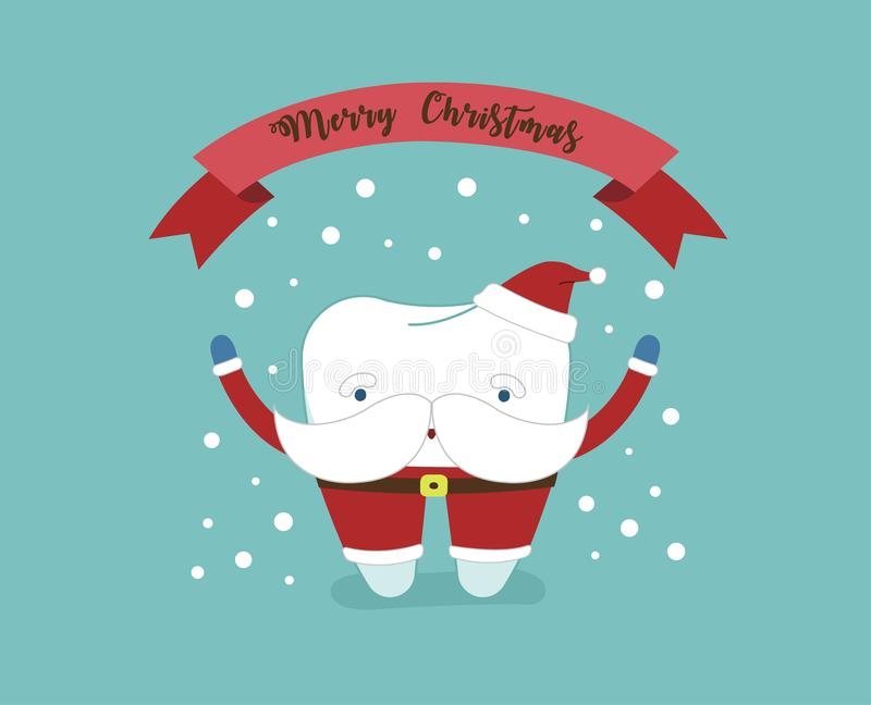 Merry Christmas of dental with santa claus tooth royalty free illustration