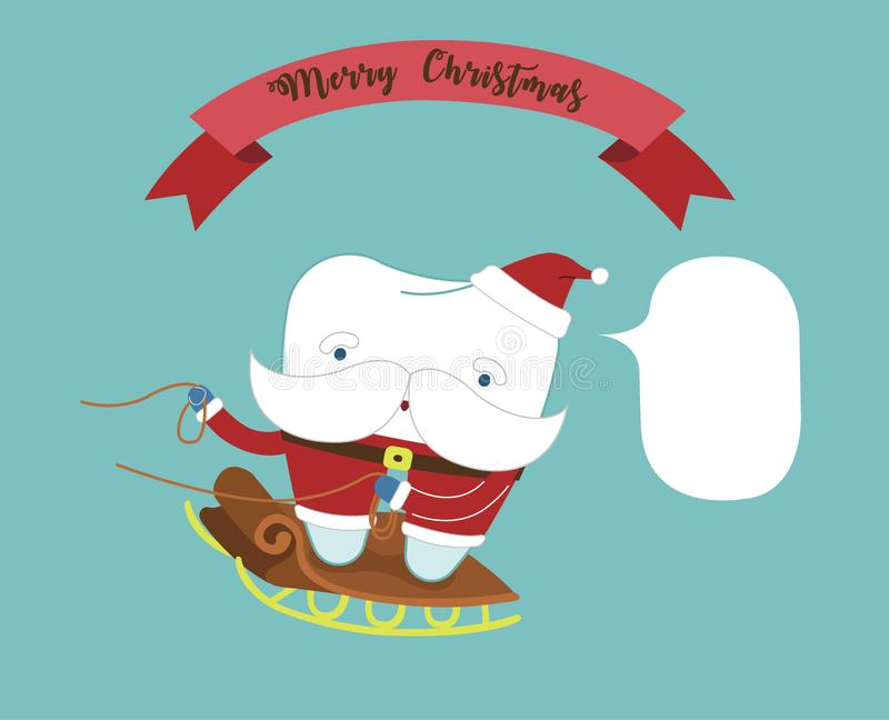 Merry Christmas of dental with santa claus tooth.  vector illustration