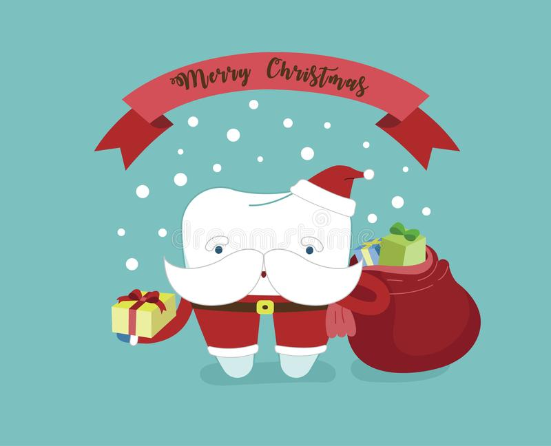 Merry Christmas of dental with santa claus tooth.  royalty free illustration