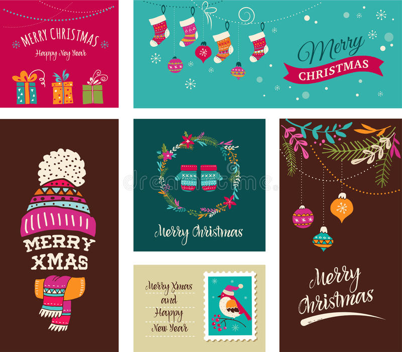 Merry Christmas Design Greeting cards - doodle illustrations royalty free illustration