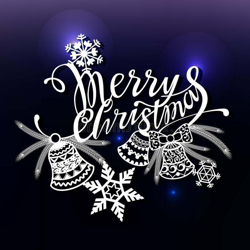 Merry Christmas design text for laser cutting. New year calligraphic inscription, decorated winter element. Good for. Greeting card design, window, storefront stock illustration