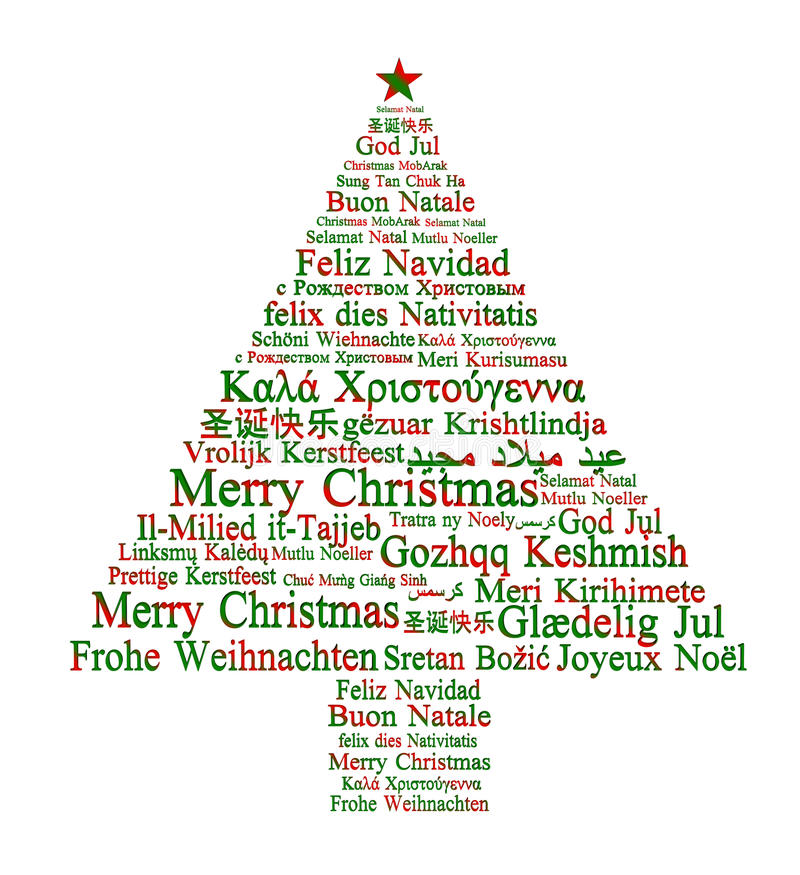 Merry Christmas in different languages royalty free illustration