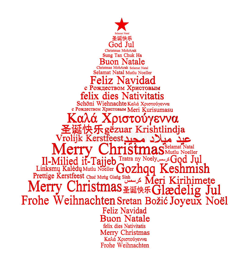 Merry Christmas in different languages. Forming a Christmas tree royalty free illustration
