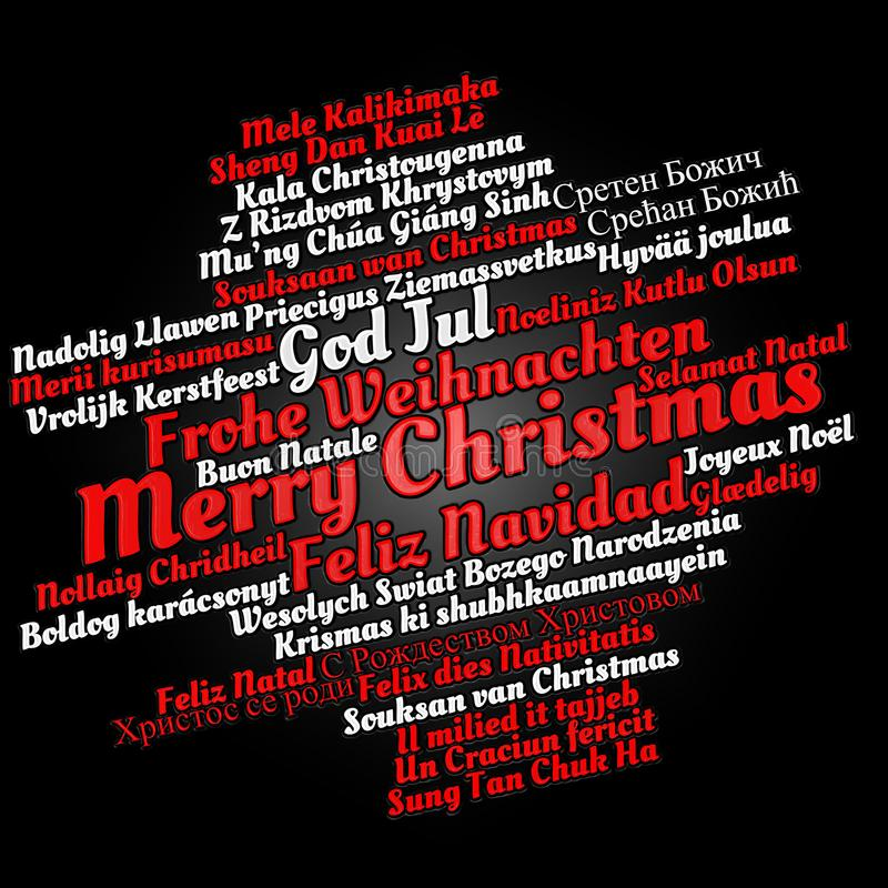 Merry Christmas in different languages vector illustration