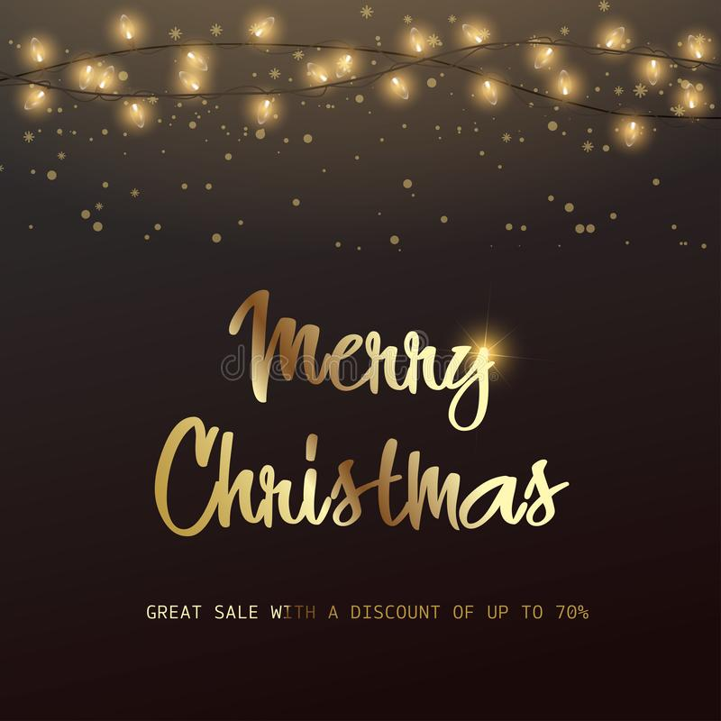Merry Christmas discount card with Xmas ornaments. Vector.  stock illustration