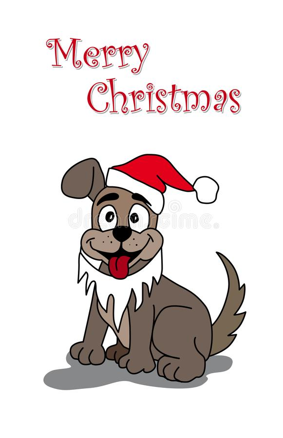 Merry Christmas dog beard new Year stock illustration