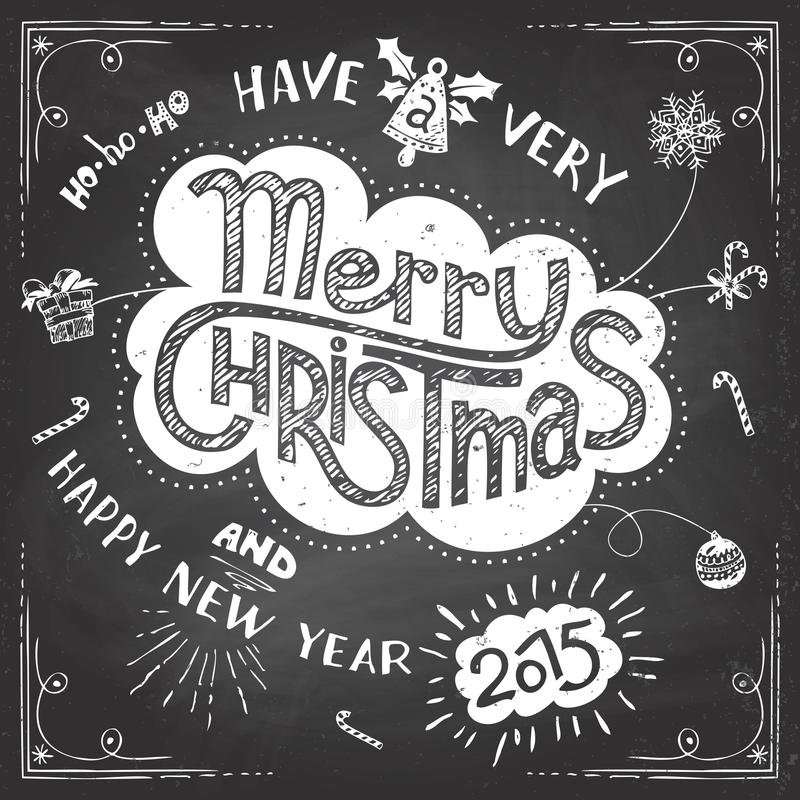 Merry Christmas doodle chalkboard stock illustration