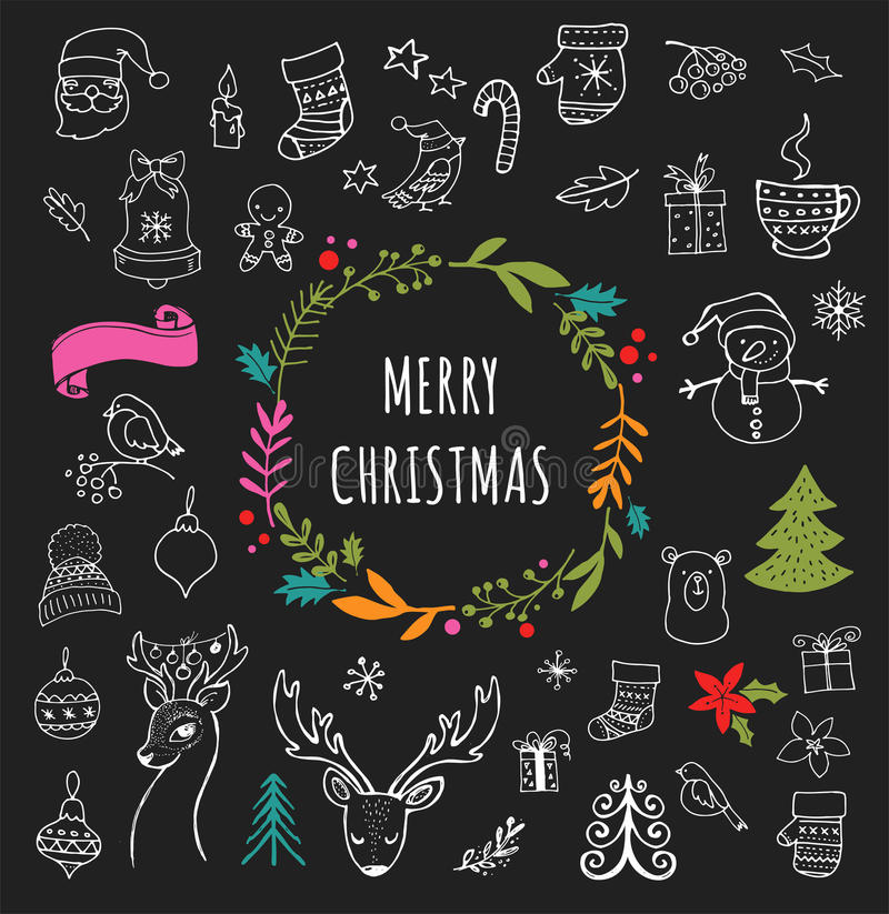 Merry Christmas - Doodle Xmas symbols, hand drawn illustrations vector illustration