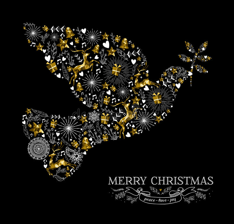 Merry christmas dove bird silhouette gold reindeer stock illustration