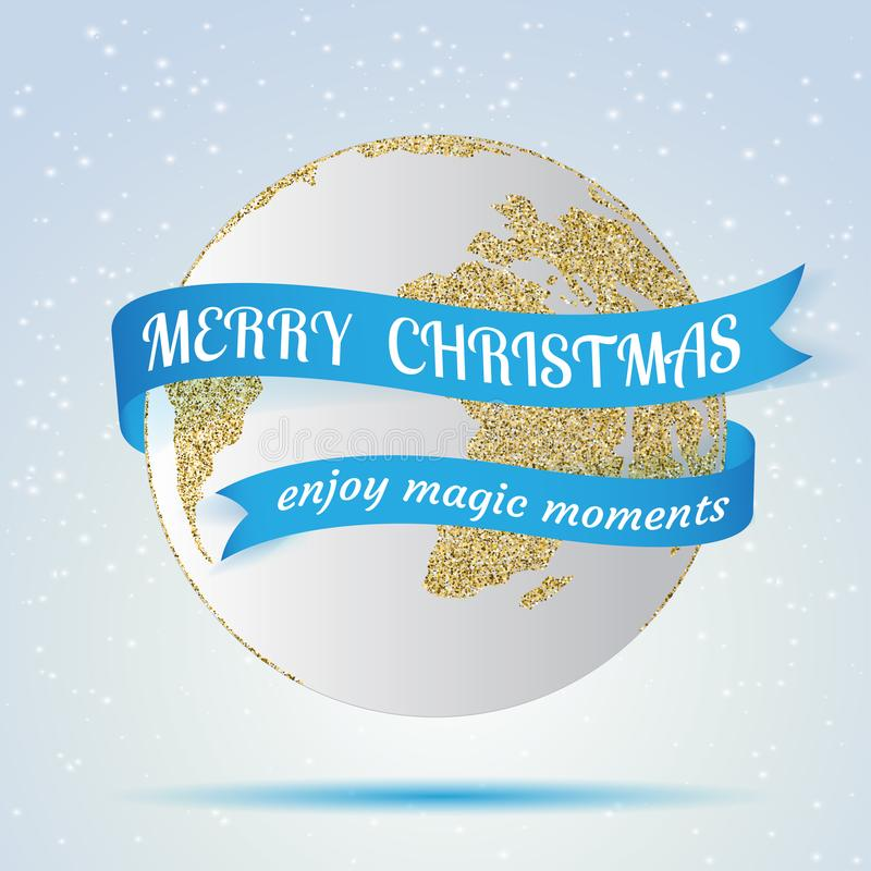 Merry Christmas, earth icon with red ribbon around it, hollyday decoration on winter background. Greeting card, brochure stock illustration