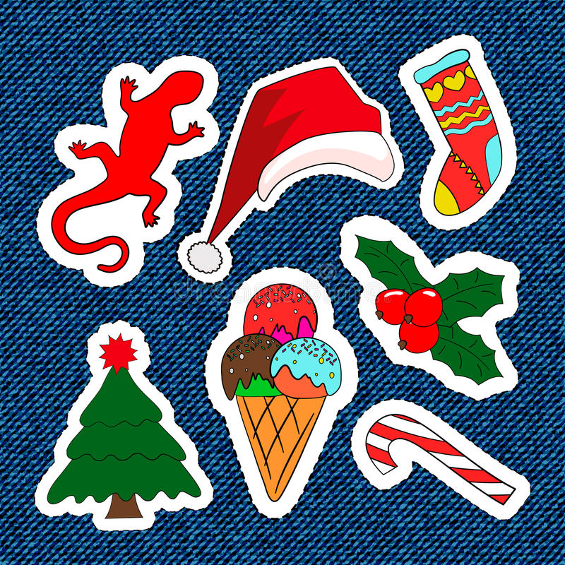 Merry Christmas embroidery patches. Candy, Santa Claus, tree, candy. Set of Happy New Year stickers, pins, magnets in stock illustration