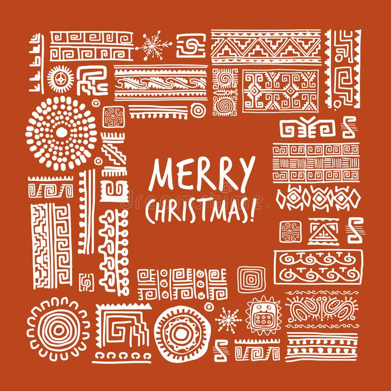 Merry Christmas Ethnic handmade ornament for your design royalty free illustration