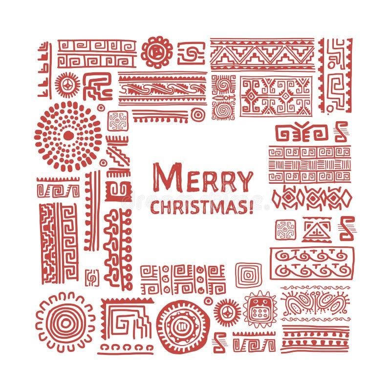 Merry Christmas. Ethnic handmade ornament for your design vector illustration