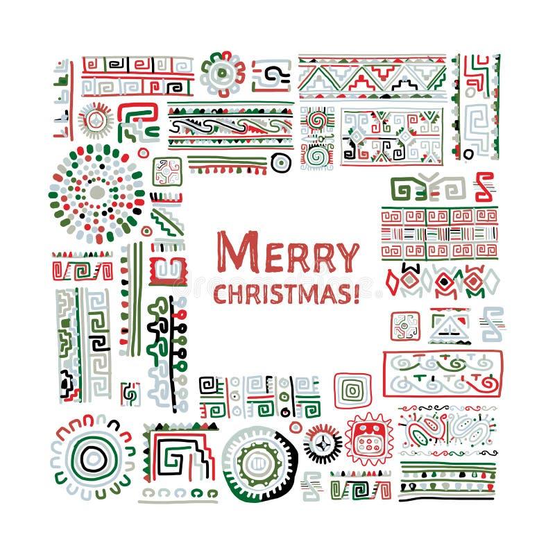 Merry Christmas! Ethnic handmade ornament for your design stock illustration