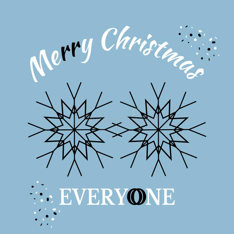 Merry Christmas everyone! Greeting card for Christmas and New Year. Black and Black snowflakes together. Vector illustration for. Design visualization of royalty free illustration