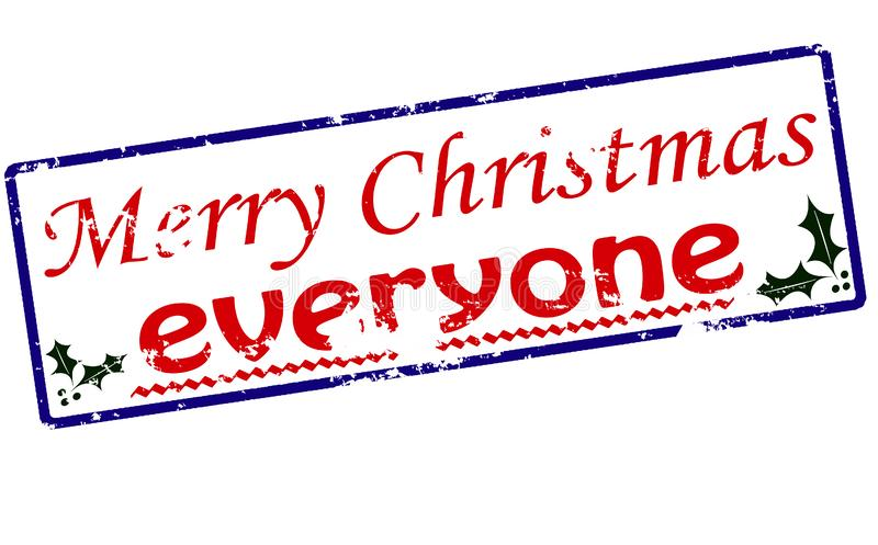 Merry Christmas everyone. Rubber stamp with text Merry Christmas everyone inside, illustration stock illustration