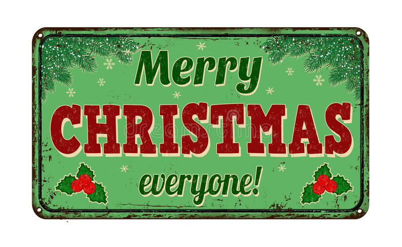Merry christmas everyone vintage metal sign stock vector
