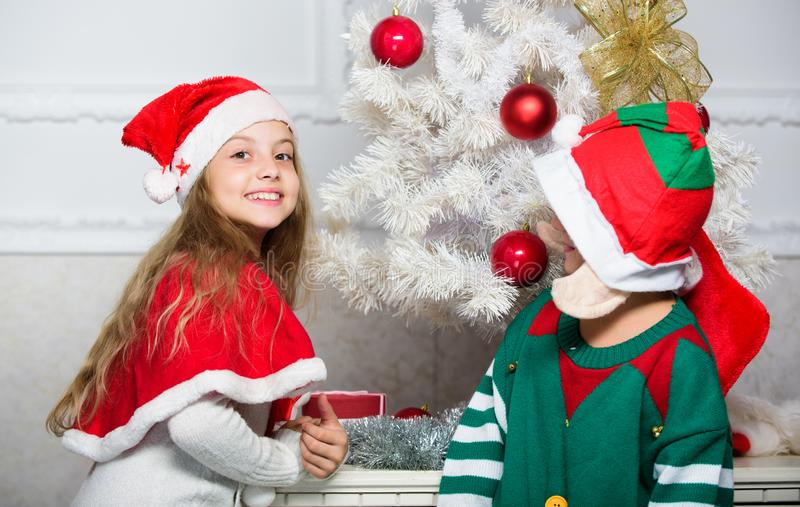 Merry christmas. Family holiday tradition. Children cheerful celebrate christmas. Siblings ready celebrate christmas or royalty free stock photos
