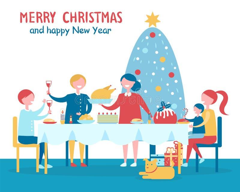 Merry Christmas Familys Dinner Vector Illustration vector illustration