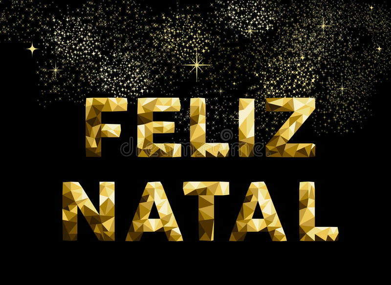 Merry Christmas Feliz Natal Brazil Gold Low Poly Stock Vector ...