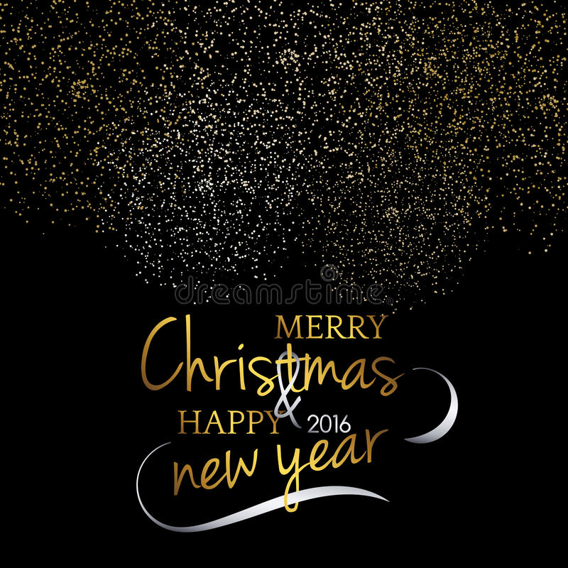 Merry Christmas. Festive black background with gold calligraphic greeting text stock images