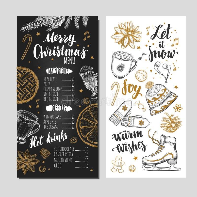 Merry Christmas Festive Winter Menu On Chalkboard. Design Template ...